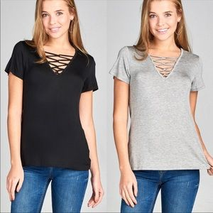Tops - Gray Lace up Tee